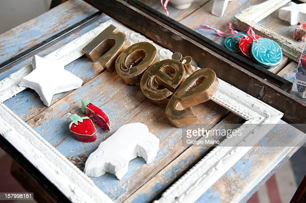Handmade ceramic christmas decorations in a shop