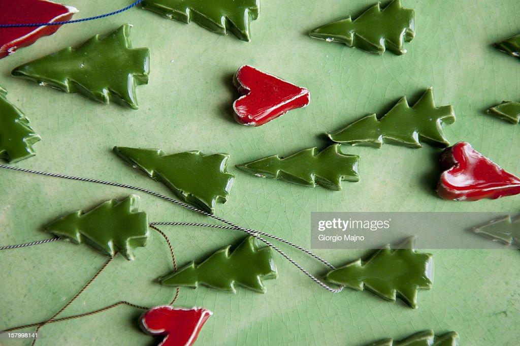 Handmade ceramic ornaments : Stock Photo