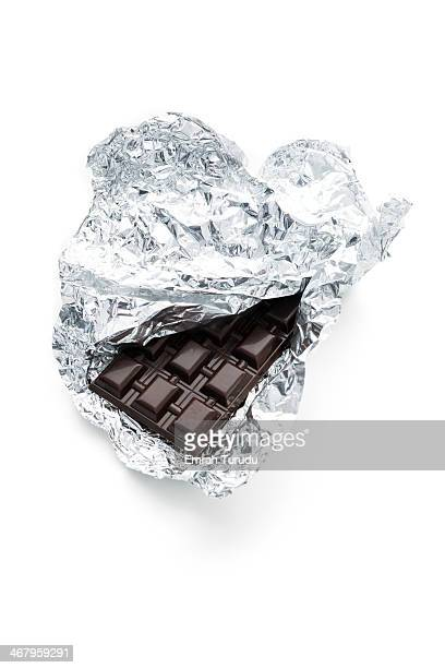 Handmade Chocolate Bar in Silver Foil on white bac