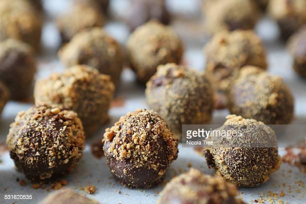 handmade chocolate truffles on baking paper