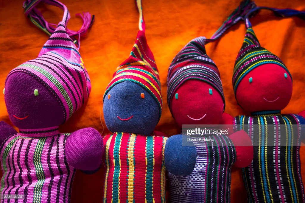 Handmade colourful fabric dolls; Atauro Island, Timor-Leste : Stock Photo