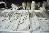 Handmade from plaster the shelf in the workshop