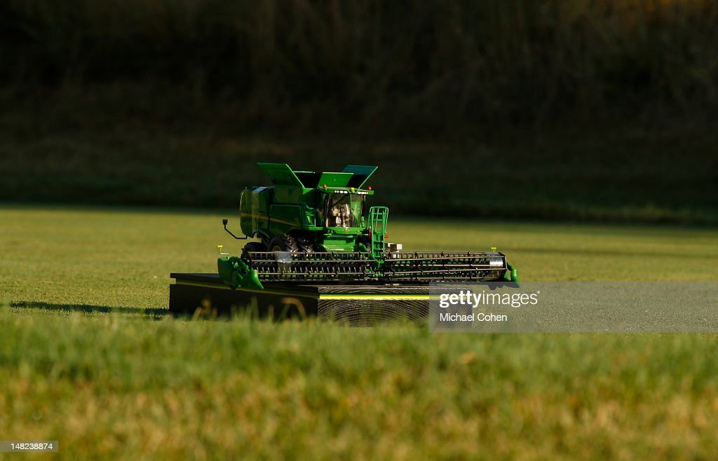 A handmade model of a Jon Deere combine serves as a tee marker during the first round of the John Deere Classic held at TPC Deere Run on July 12 2012...