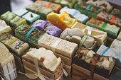 Handmade natural eco soap, selective focus, toned