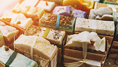 Handmade natural eco soap, selective focus with sun shine effect
