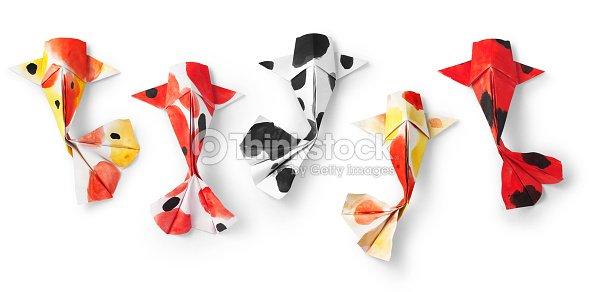 Handmade Paper Craft Origami Koi Carp Fish On White Background Stock