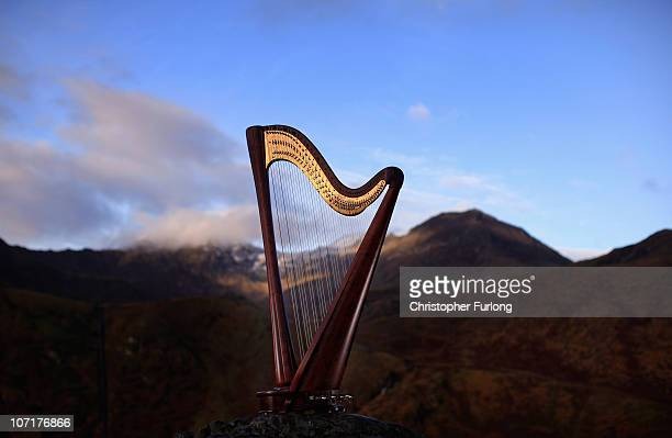 A handmade pilgrim Harp stands against the backdrop of Snowdonia on November 16 2010 in Capel Curig United Kingdom Hero Melia is being donated a...