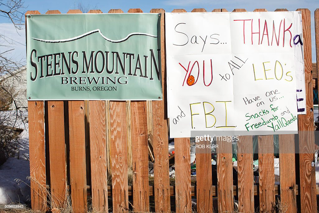A handmade sign is seen in Burns, Oregon on February 11, 2016 displays a sense of pride in the small town's law enforcement leader. The last four armed occupiers of a wildlife refuge in Oregon turned themselves in on Thursday, ending a tense 41-day standoff over grazing rights on federal land that left one dead. / AFP / Rob Kerr / TO GO WITH AFP STORY BY ROBERT KERR