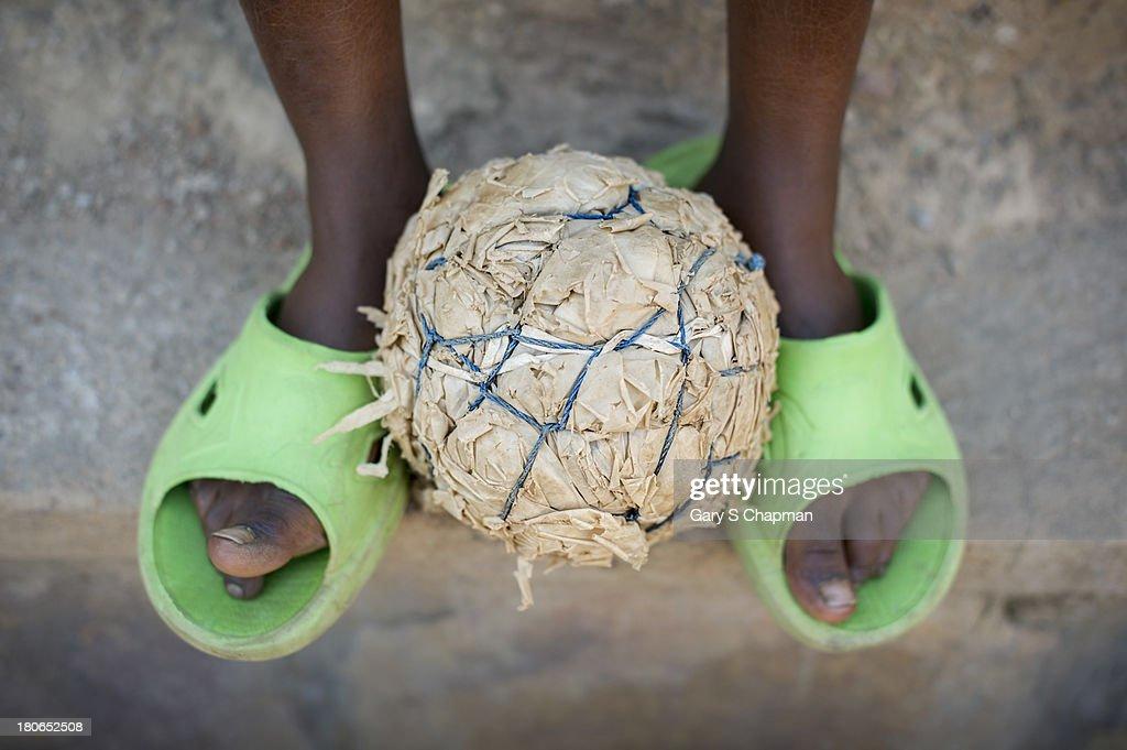 Handmade soccer ball in Rwanda, Africa
