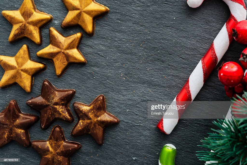 handmade star shaped chocolate on stone table with