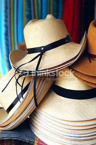 60548eb9ef9d2 Handmade Traditional Panama Hats Ecuador Stock Photo | Thinkstock