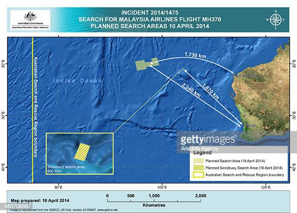 A handout image released by the Australian Maritime Safety Authority in Canberra Australia 10 April 2014 shows the search area in the Indian Ocean...