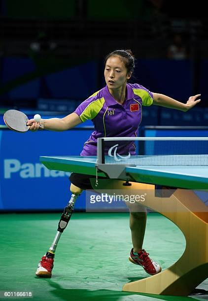Handout image supplied by OIS/IOC showing China's Rui Wang in action against SeongOk Kim of South Korea in women's singles table tennis during the...