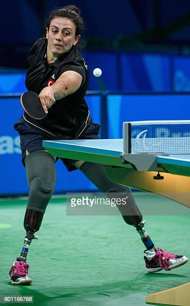 Handout image supplied by OIS/IOC showing Turkey's Kubra Korkut in action against Kelly van Zon of the Netherlands in women's singles table tennis...