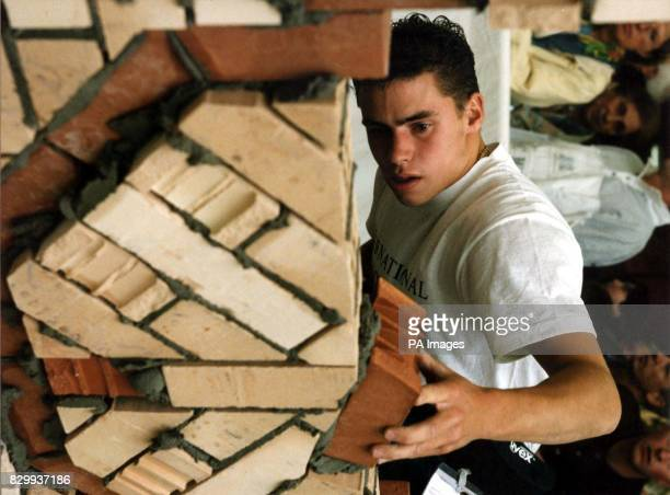 Handout photo of bricklayer Lee Blower of Shresberry won a gold medal in bricklaying at the international Youth Skill Olympics in St Gallen...