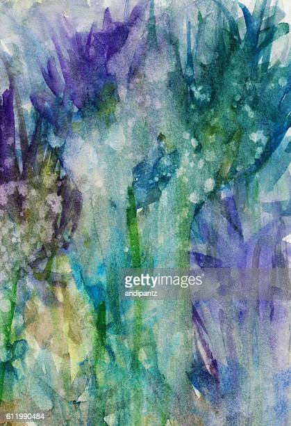 Handpainted abstract floweral background