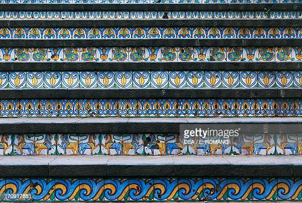 Handpainted majolica tiles steps leading up to Santa Maria del Monte built by Giuseppe Giacalone in the 17th century Caltagirone Sicily Italy