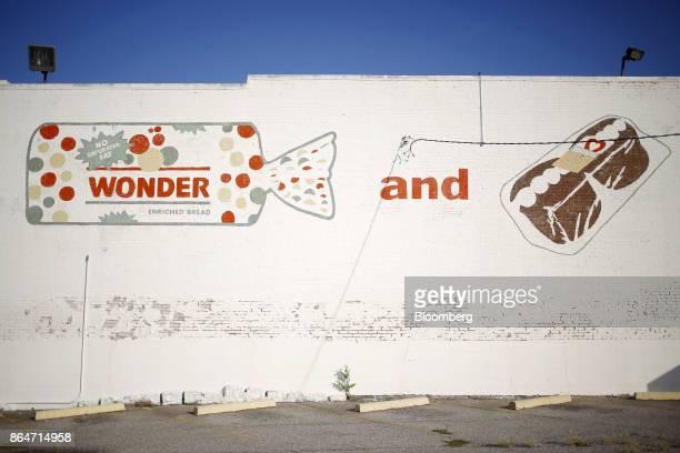 Handpainted signage is displayed outside of the former Hostess Brands Inc Wonder Bread plant in Memphis Tennessee US on Tuesday Oct 3 2017 The...