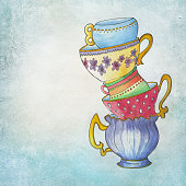 handpainted vintage cups on aqua color background, tea cups on paper background