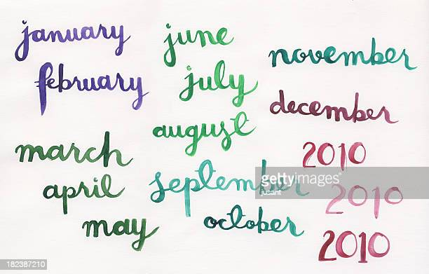Handpainted watercolor months