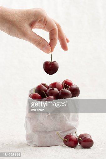 Escolhidas frescas cherries (expressão inglesa