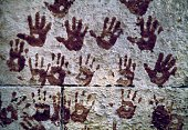 Handprints to ward off bad luck on a house Cairo Egypt