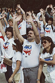 Hands Across America supporters in New York City 25th May 1986 A human chain of around 65 million people stretched across the continental United...