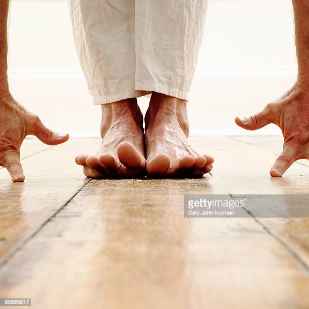 Hands and feet in yoga position