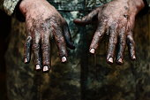 Hands and fingernails greasy dirty working man