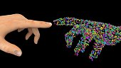 Computer generated hands touching fingers 3d illustration