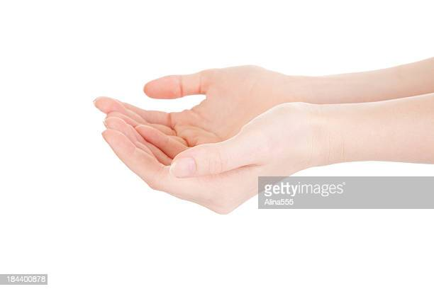 Hands cupped together on white