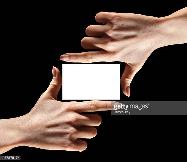 Hands Fingers Holding, Framing Blank Business Card, Insert Your Information