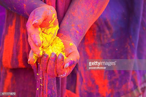 Hands Full of Dye at Holi Festival