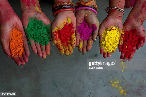 Hands full powder color,celebrating holi festival,India.