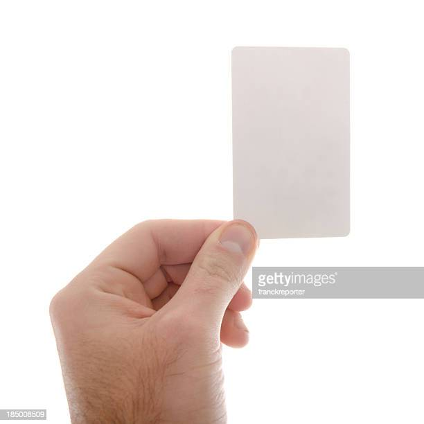 hands holding a blank greeting card on white background