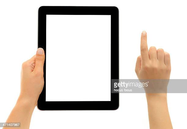Hands holding and pointing white screen tablet pc