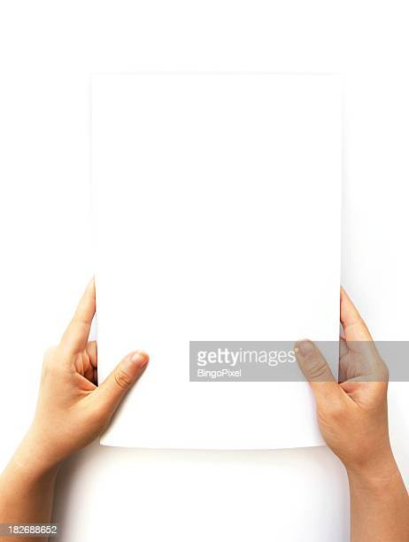Hands Holding Blank Document