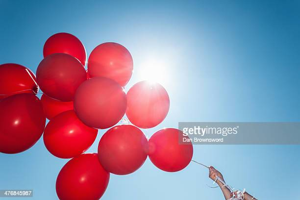 Hands holding bunch of red balloons against blue sky