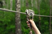 Zip line activity. Hands holding carabiner on zip line in forest.