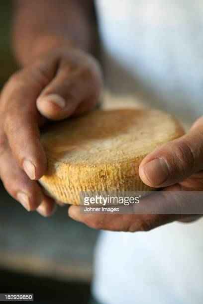 Hands holding chevre cheese