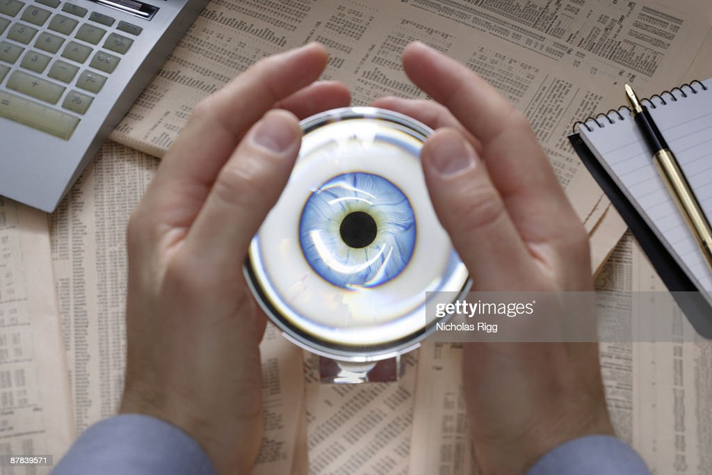 Hands holding crystal ball : Stock Photo