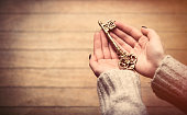 beautiful woman hands holding charming golden key on the wonderful brown wooden background