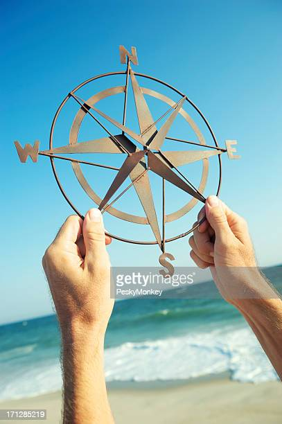 Hands Holding Old-Fashioned Compass Blue Sky Beach