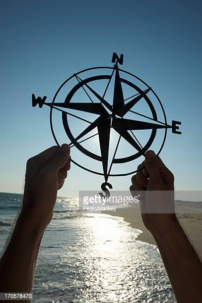 Hands Holding Old-Fashioned Compass Silhouette Beach Outdoors