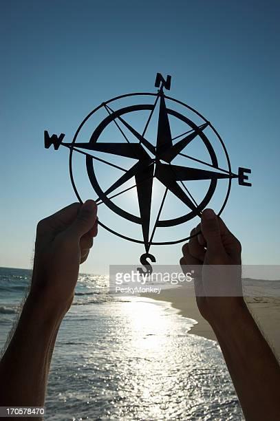 Mani tenendo Old-Fashioned Silhouette circolare all'aperto sulla spiaggia