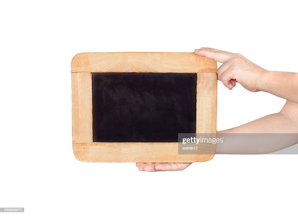 hands holding slate blackboard isolated on white background : Stock Photo