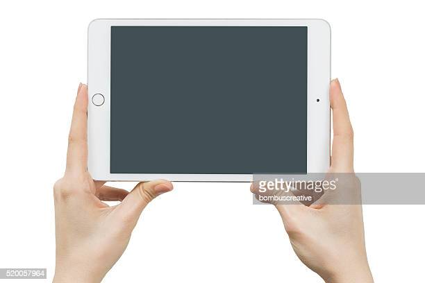 Hands Holding Touch Screen Apple iPad Mini4