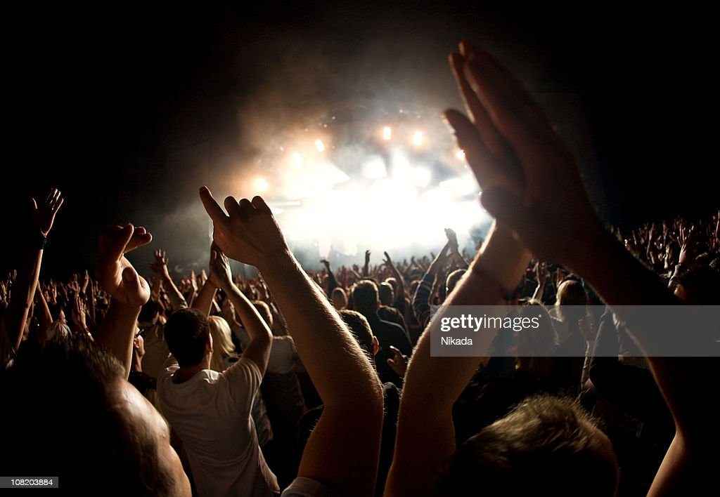hands in a rock concert : Stock Photo