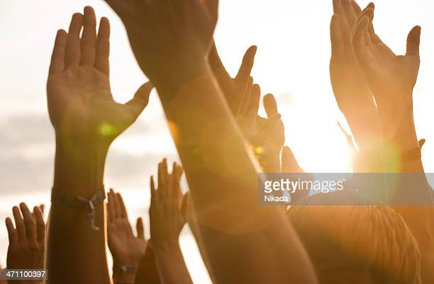 hands in a rock concert