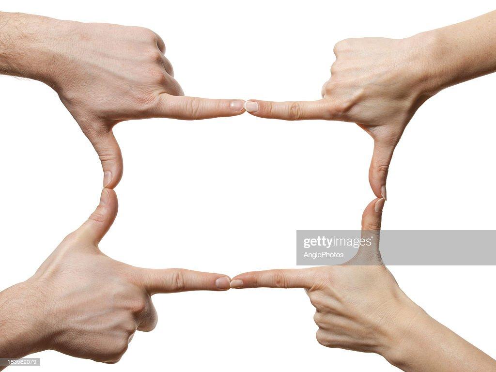 Hands making frame